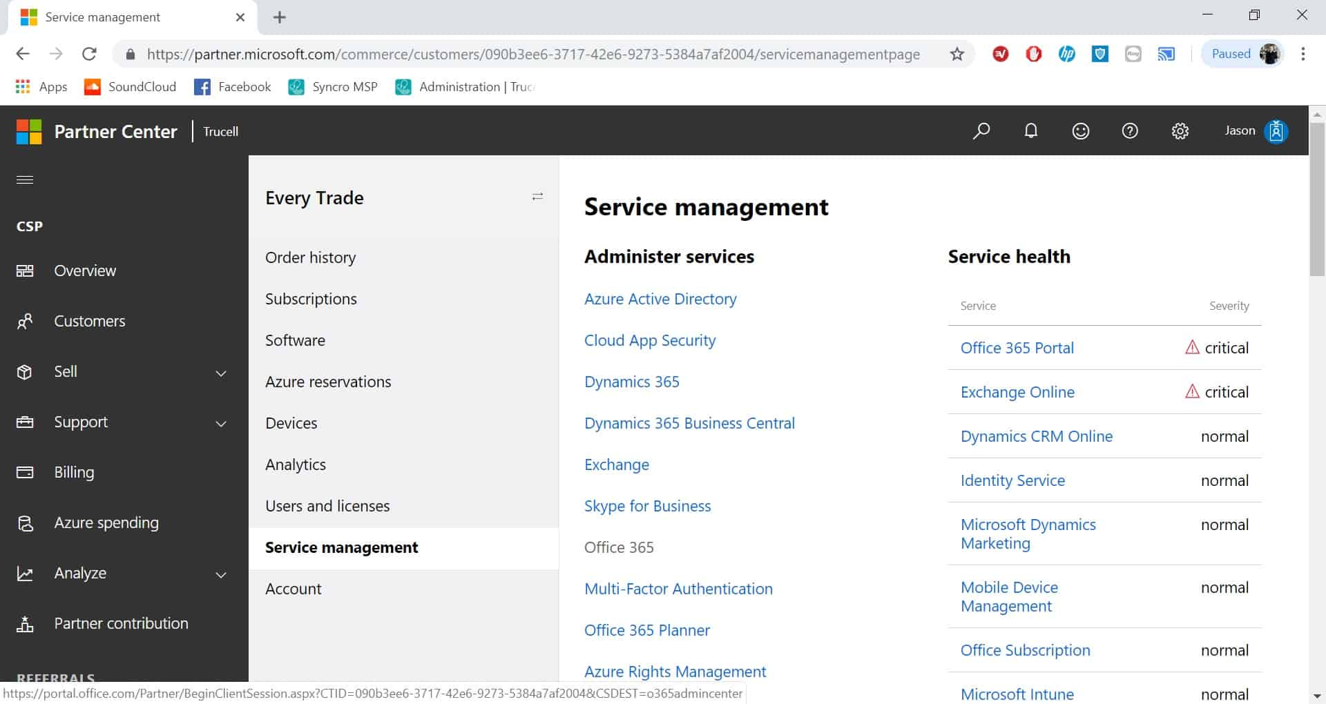Office 365 service management